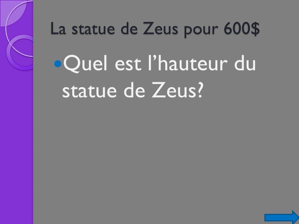Quel est l'hauteur du statue de Zeus