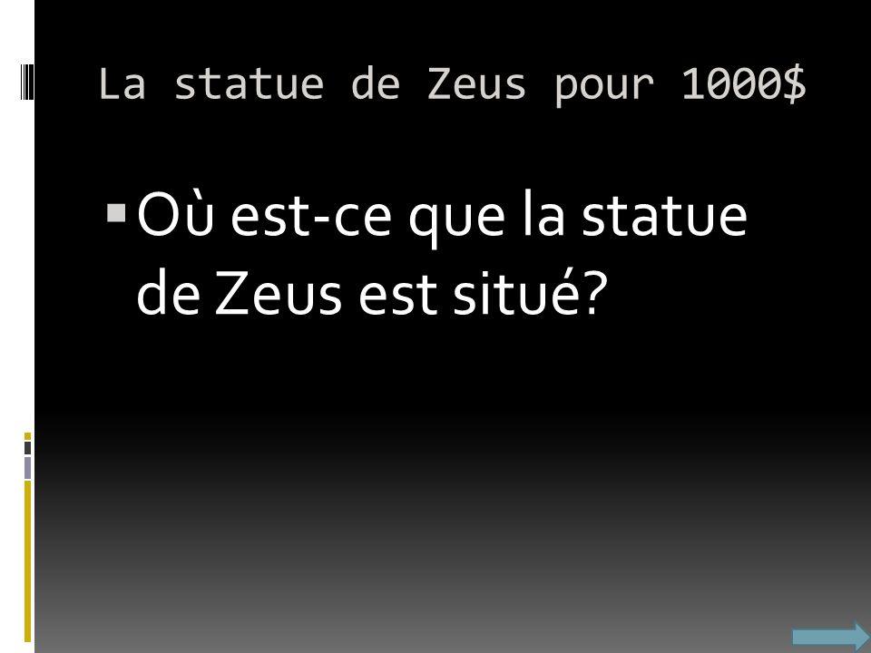Où est-ce que la statue de Zeus est situé