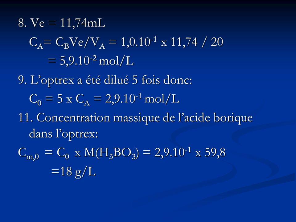 8. Ve = 11,74mL CA= CBVe/VA = 1,0.10-1 x 11,74 / 20. = 5,9.10-2 mol/L. 9. L'optrex a été dilué 5 fois donc: