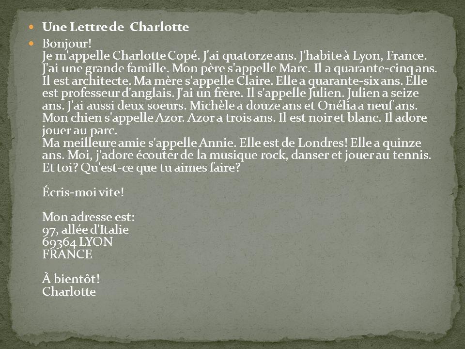 Une Lettre de Charlotte