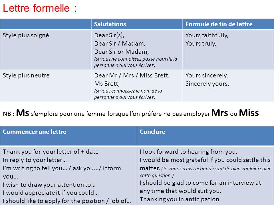 Lettre formelle : Salutations Formule de fin de lettre