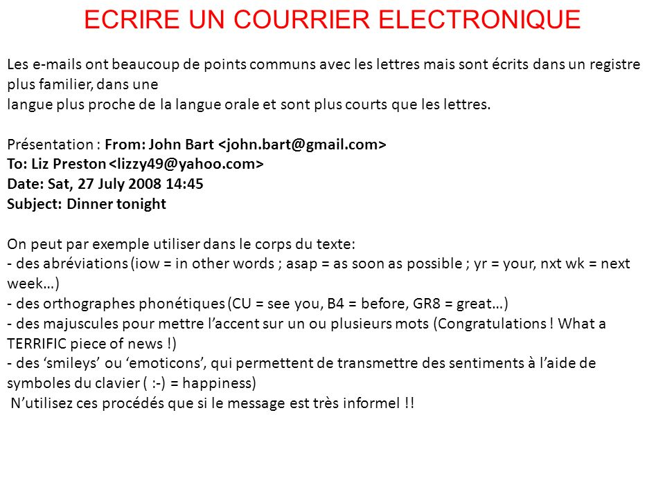 ECRIRE UN COURRIER ELECTRONIQUE