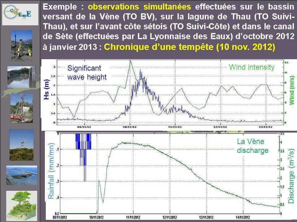 Exemple : observations simultanées effectuées sur le bassin versant de la Vène (TO BV), sur la lagune de Thau (TO Suivi-Thau), et sur l'avant côte sétois (TO Suivi-Côte) et dans le canal de Sète (effectuées par La Lyonnaise des Eaux) d'octobre 2012 à janvier 2013 : Chronique d'une tempête (10 nov. 2012)