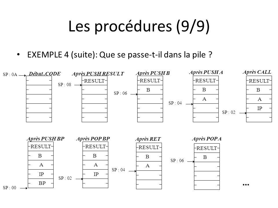 Les procédures (9/9) EXEMPLE 4 (suite): Que se passe-t-il dans la pile RESULT. SP : 0A. SP : 02.