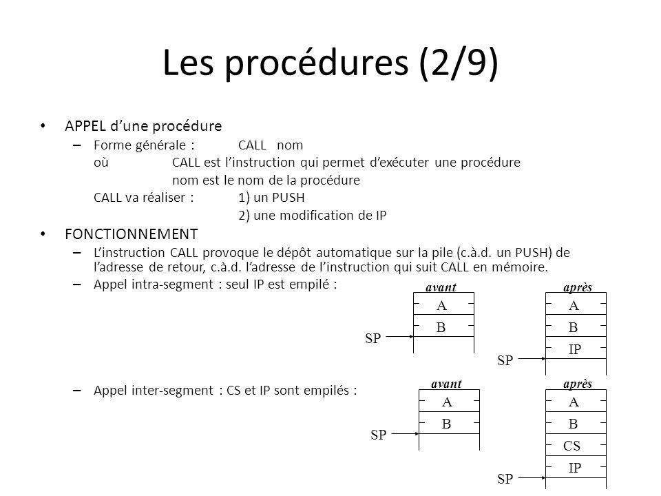 Les procédures (2/9) APPEL d'une procédure FONCTIONNEMENT