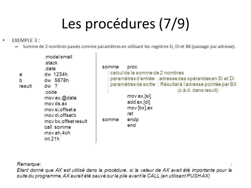 Les procédures (7/9) EXEMPLE 3 :