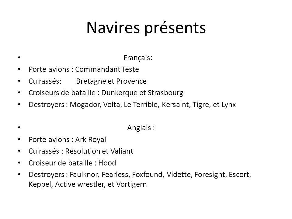 Navires présents Français: Porte avions : Commandant Teste