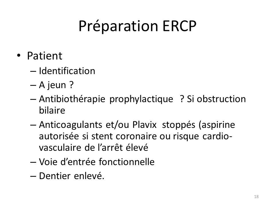 Préparation ERCP Patient Identification A jeun