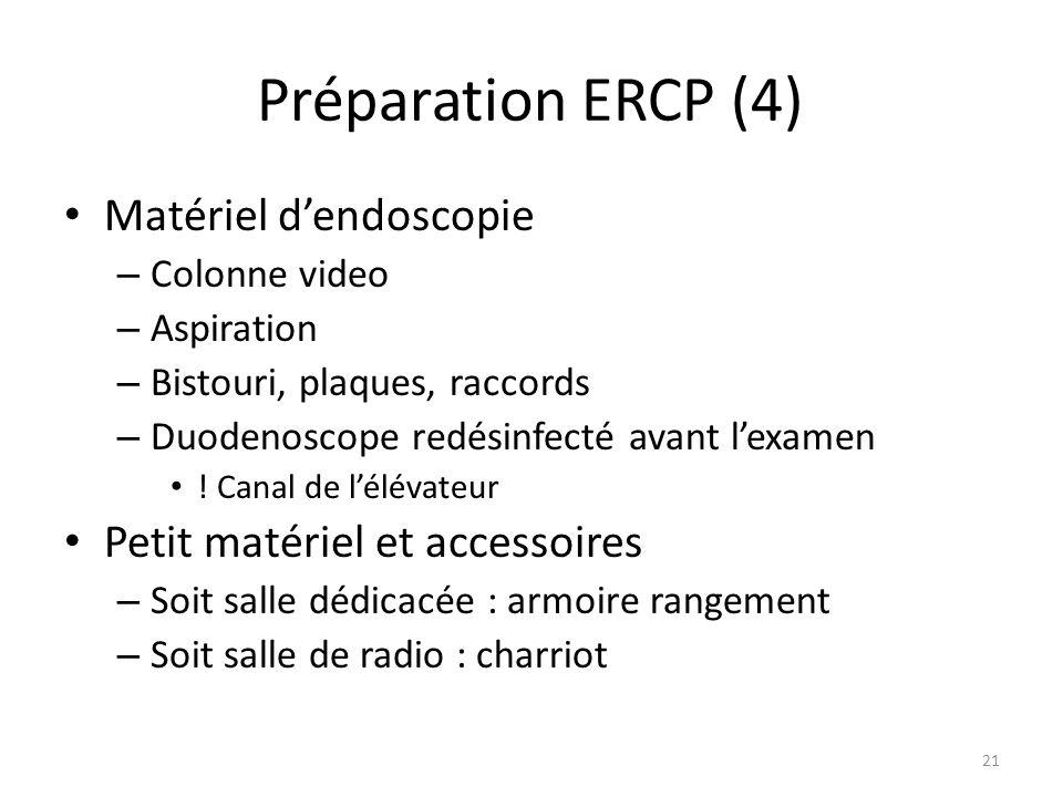 Préparation ERCP (4) Matériel d'endoscopie
