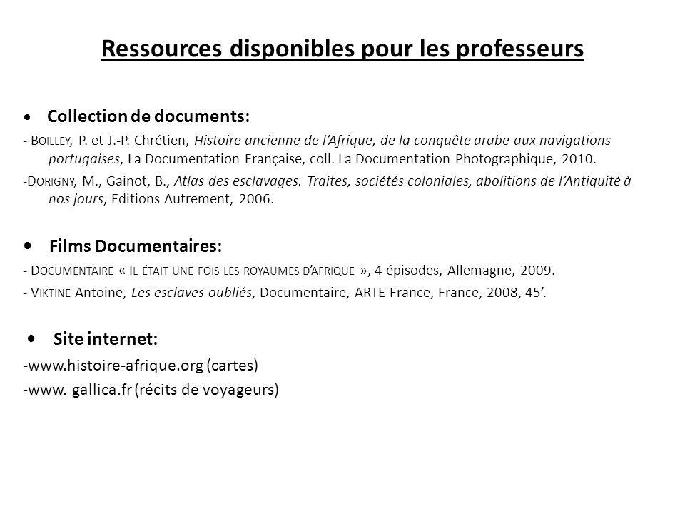 Ressources disponibles pour les professeurs