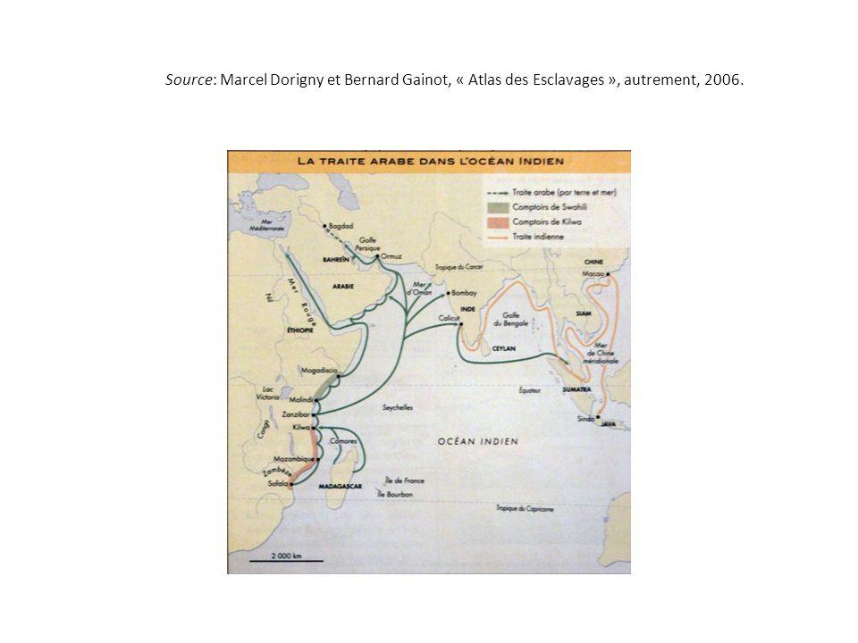 Source: Marcel Dorigny et Bernard Gainot, « Atlas des Esclavages », autrement, 2006.
