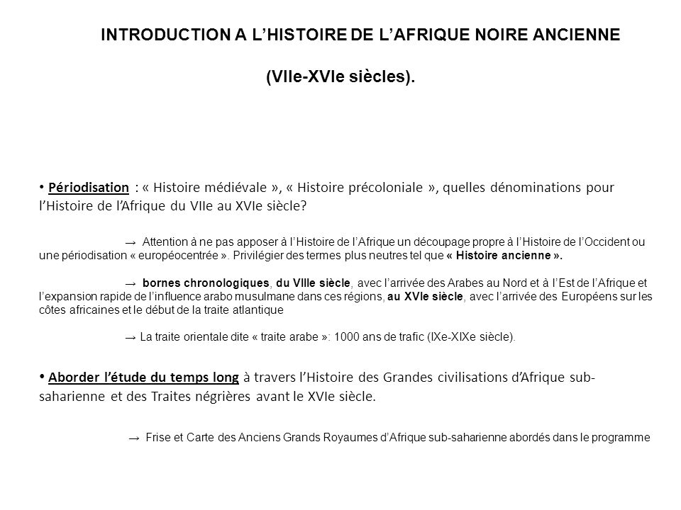 INTRODUCTION A L'HISTOIRE DE L'AFRIQUE NOIRE ANCIENNE