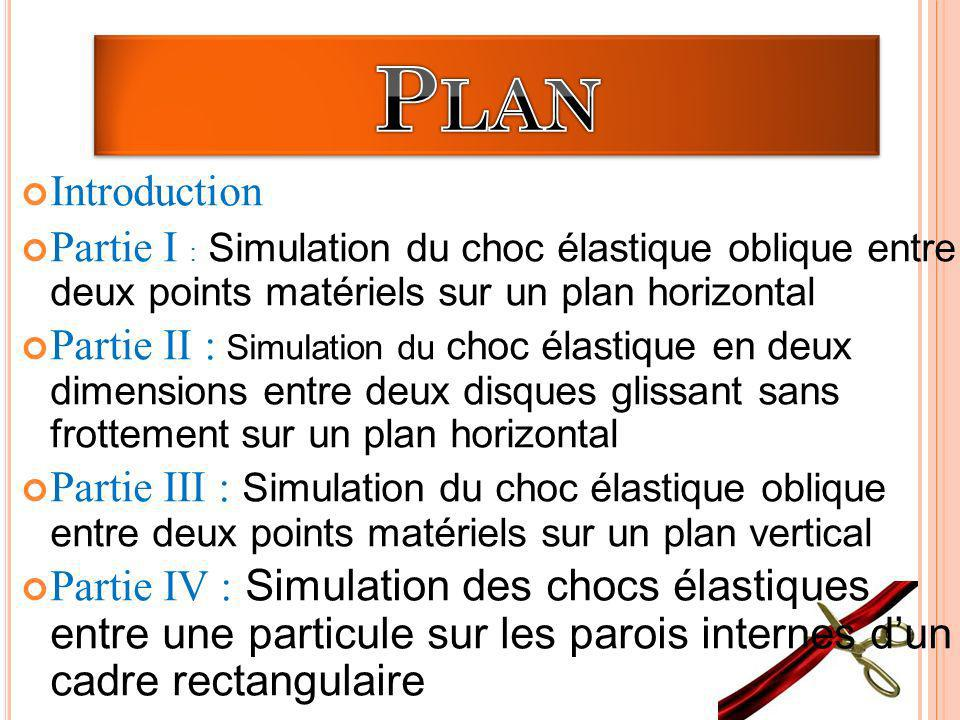Plan Introduction. Partie I : Simulation du choc élastique oblique entre deux points matériels sur un plan horizontal.