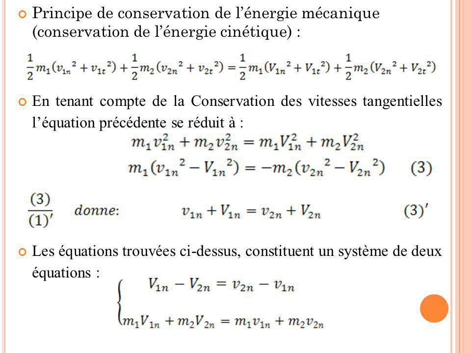 Principe de conservation de l'énergie mécanique (conservation de l'énergie cinétique) :