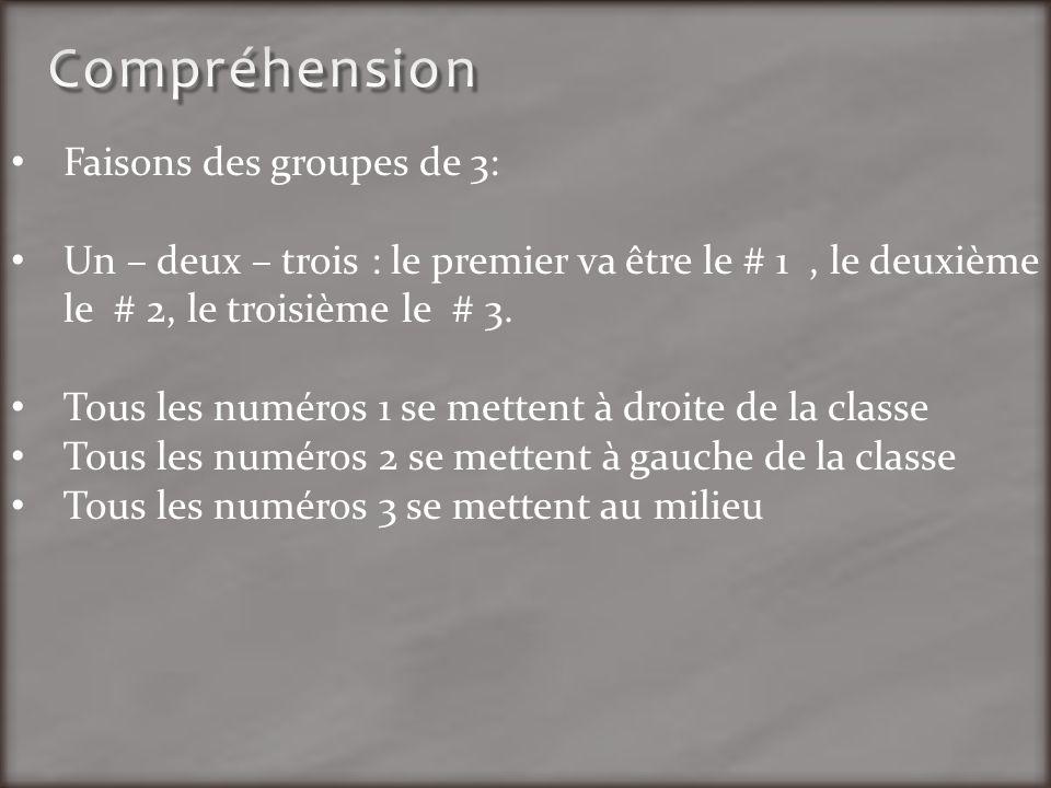 Compréhension Faisons des groupes de 3: