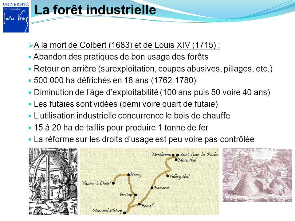 La forêt industrielle A la mort de Colbert (1683) et de Louis XIV (1715) : Abandon des pratiques de bon usage des forêts.