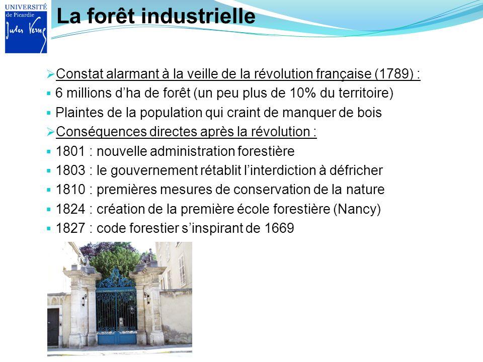 La forêt industrielle Constat alarmant à la veille de la révolution française (1789) : 6 millions d'ha de forêt (un peu plus de 10% du territoire)