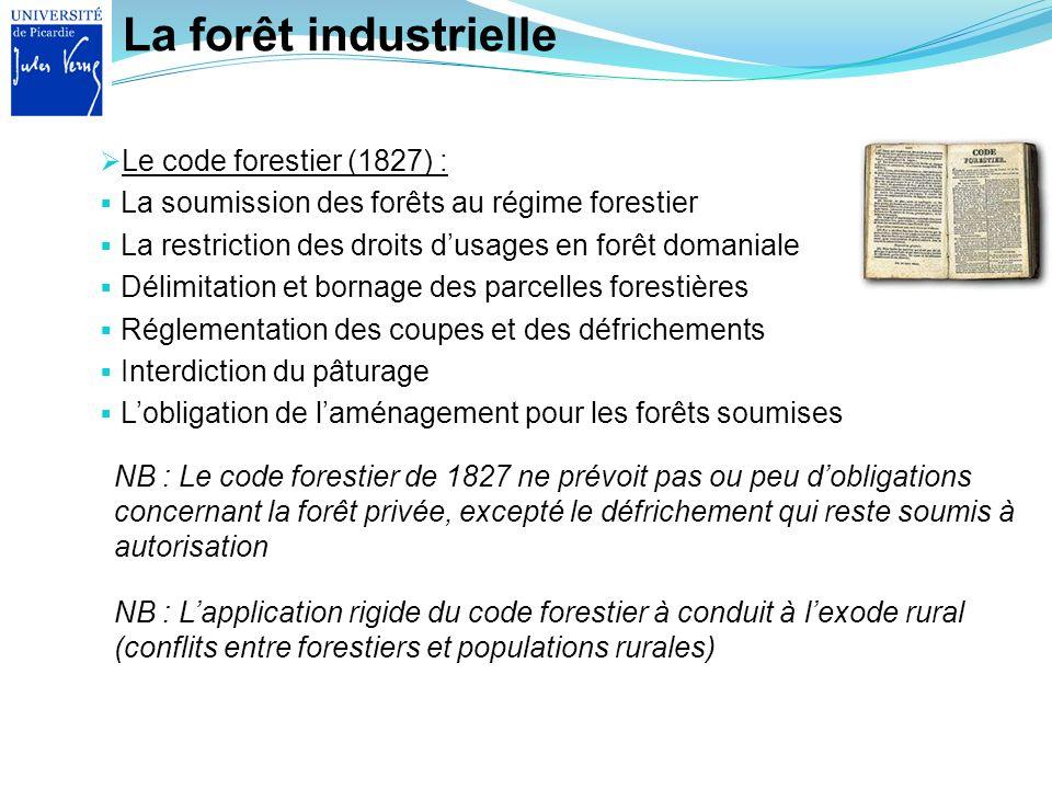 La forêt industrielle Le code forestier (1827) :