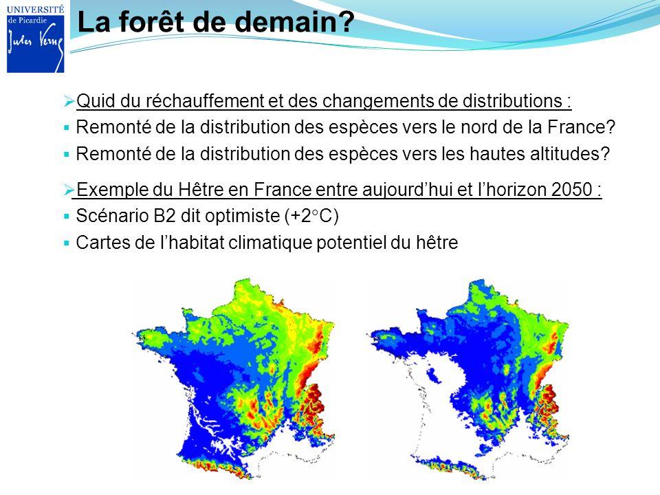 La forêt de demain Quid du réchauffement et des changements de distributions : Remonté de la distribution des espèces vers le nord de la France