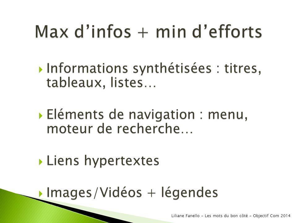 Max d'infos + min d'efforts