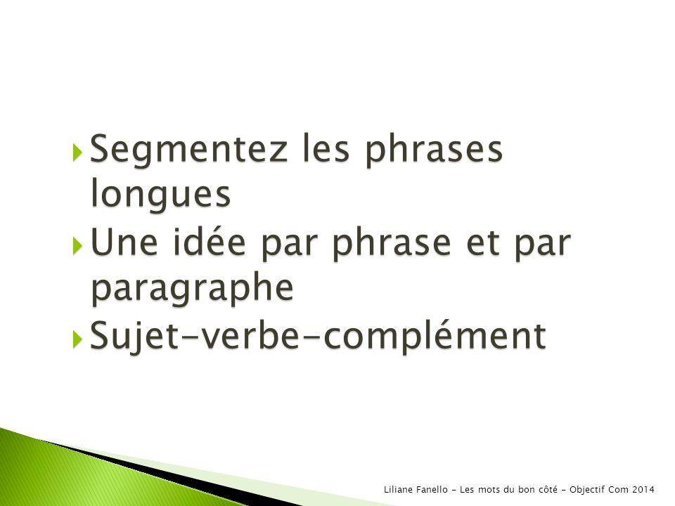 Segmentez les phrases longues Une idée par phrase et par paragraphe