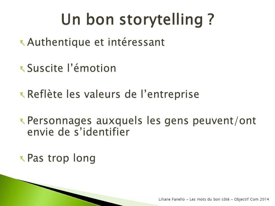 Un bon storytelling Authentique et intéressant Suscite l'émotion