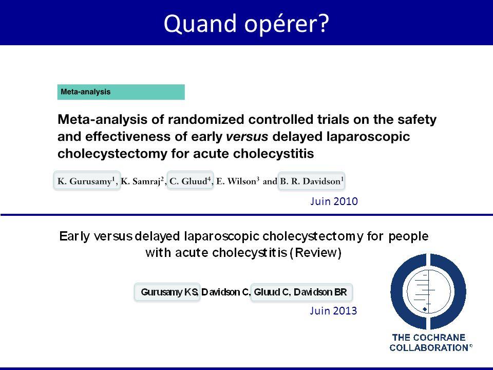Quand opérer Juin 2010. La seconde question concernant la cholécystectomie était de savoir quand opérer.
