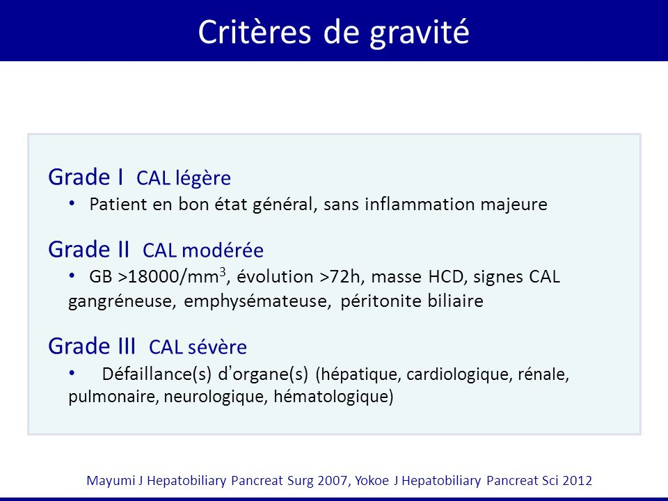 Critères de gravité Grade I CAL légère Grade II CAL modérée