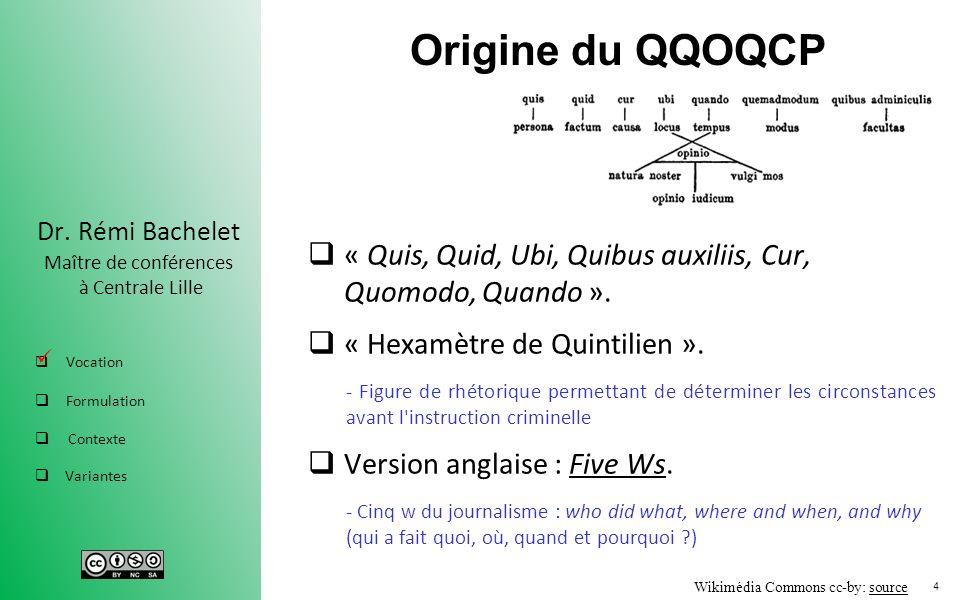 Origine du QQOQCP « Quis, Quid, Ubi, Quibus auxiliis, Cur, Quomodo, Quando ». « Hexamètre de Quintilien ».
