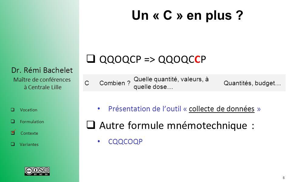 Un « C » en plus QQOQCP => QQOQCCP Autre formule mnémotechnique :
