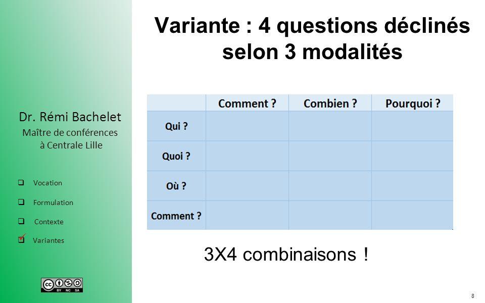 Variante : 4 questions déclinés selon 3 modalités