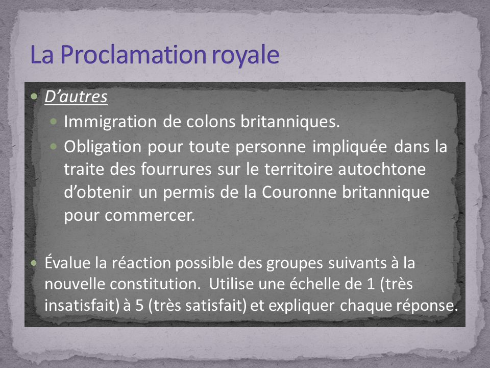 La Proclamation royale