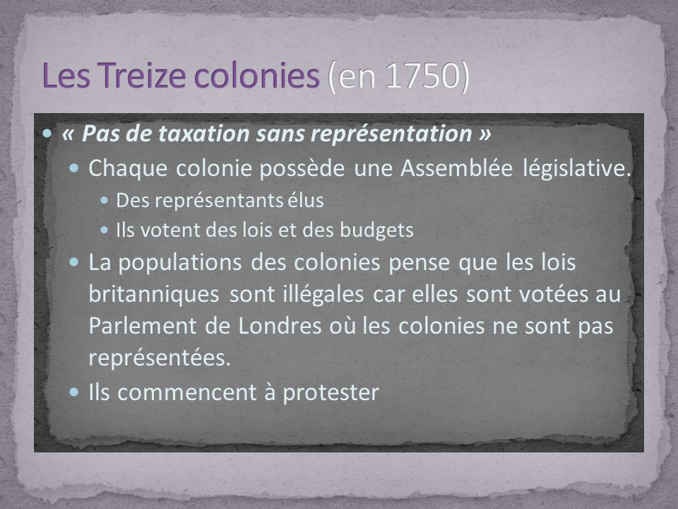 Les Treize colonies (en 1750)