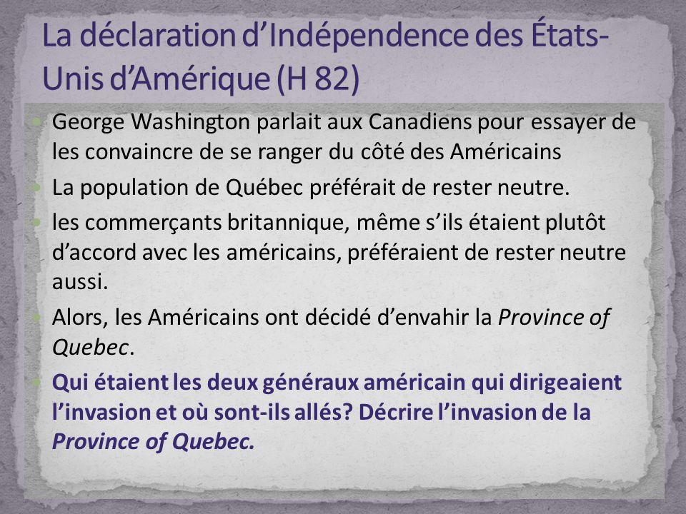 La déclaration d'Indépendence des États-Unis d'Amérique (H 82)