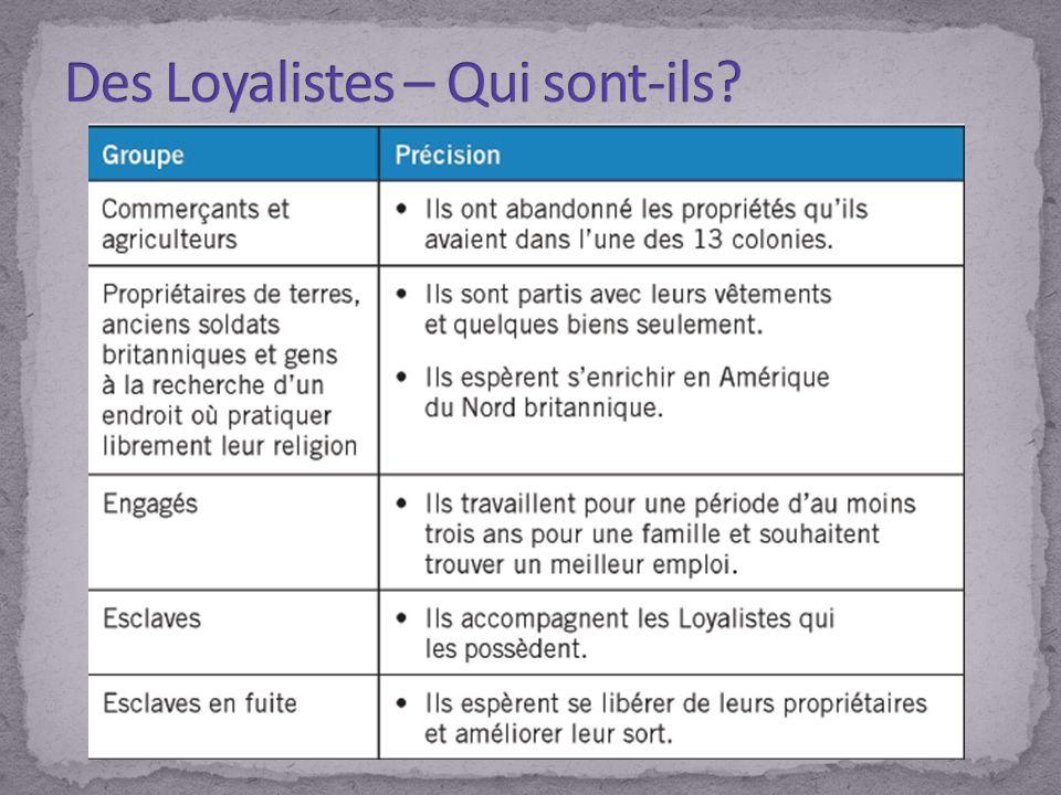 Des Loyalistes – Qui sont-ils