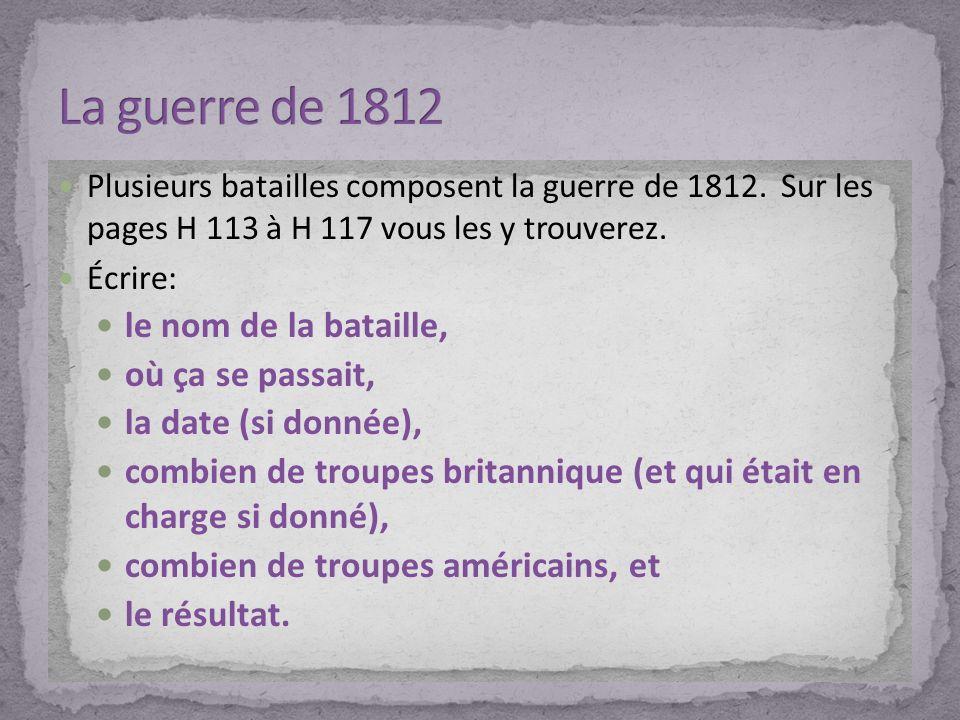 La guerre de 1812 le nom de la bataille, où ça se passait,