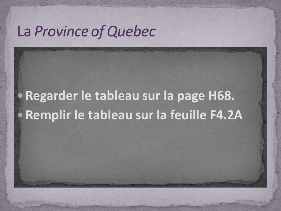 La Province of Quebec Regarder le tableau sur la page H68.
