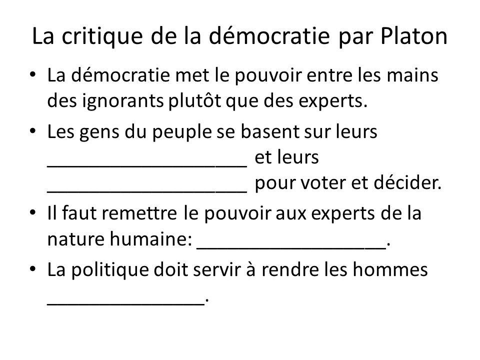 La critique de la démocratie par Platon