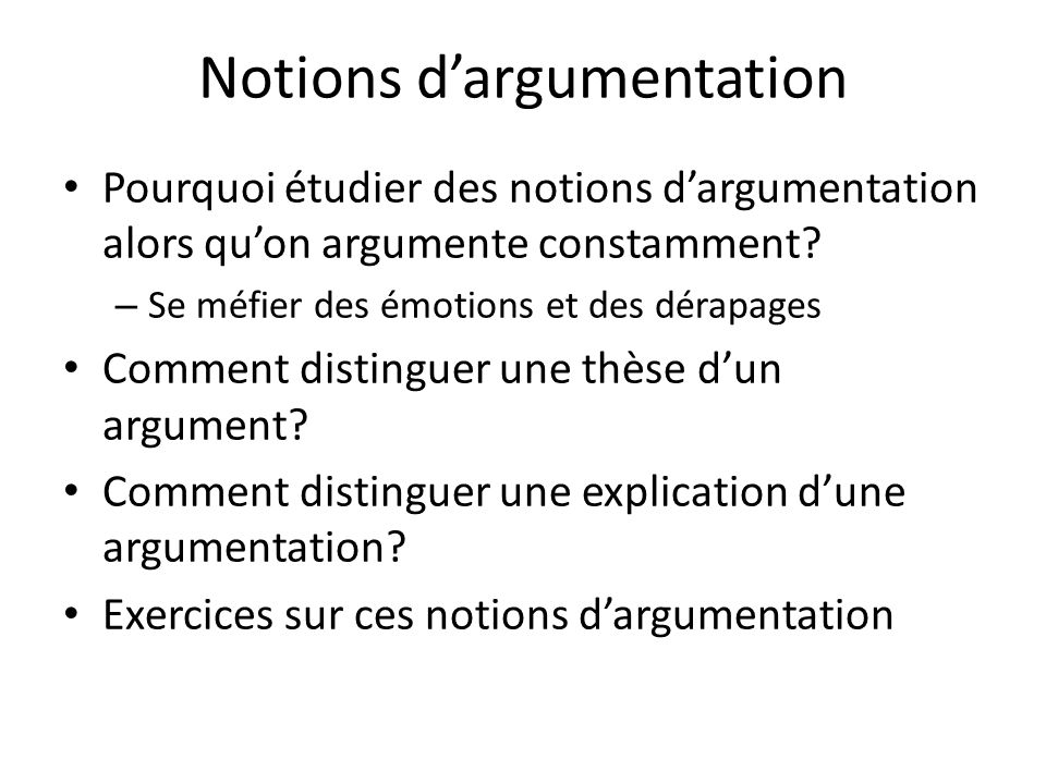 Notions d'argumentation