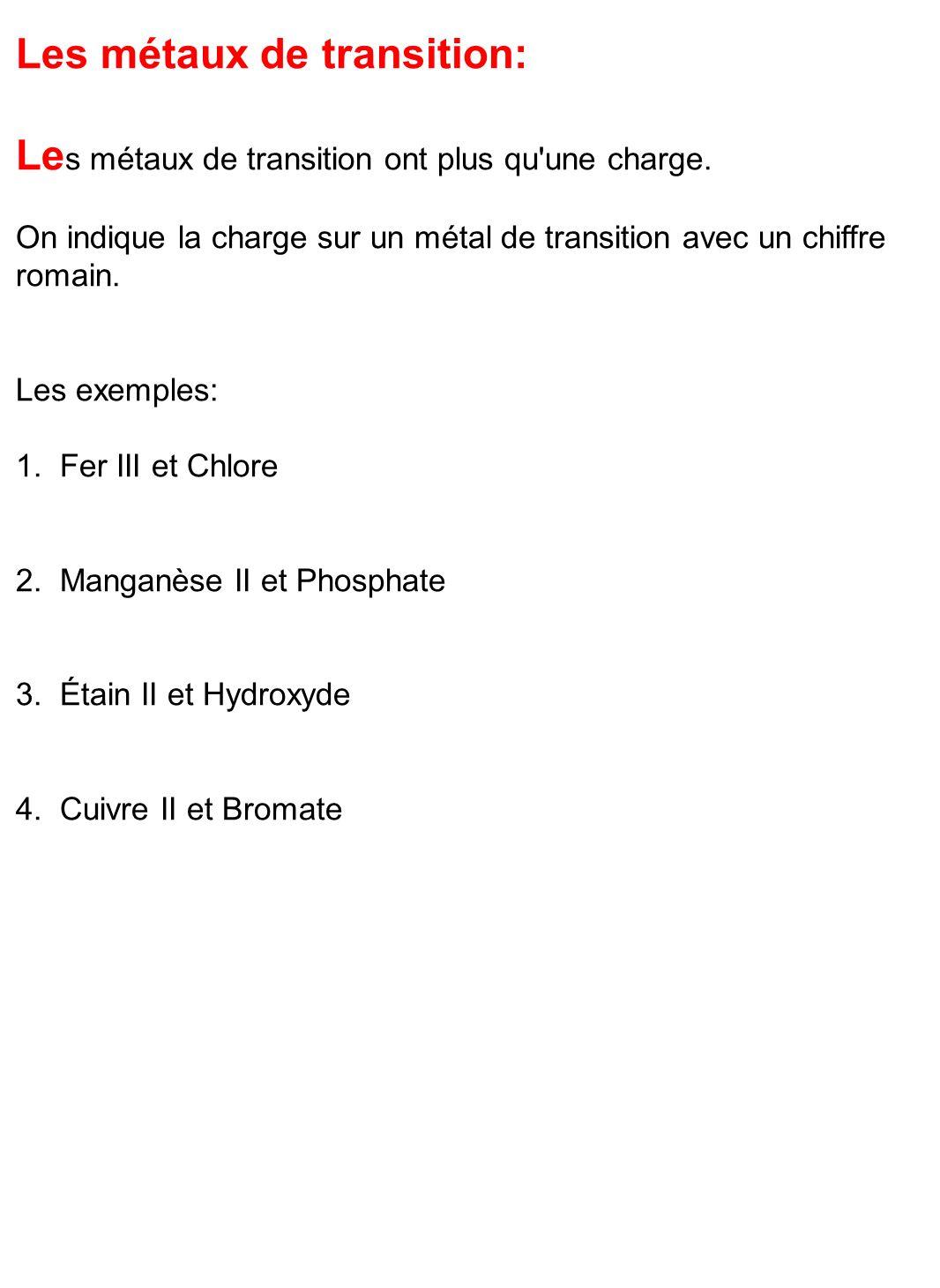 Les métaux de transition: