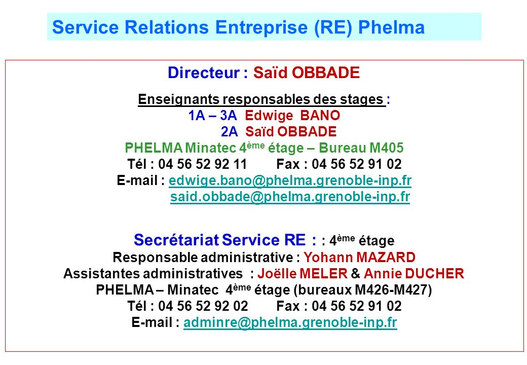 Service Relations Entreprise (RE) Phelma