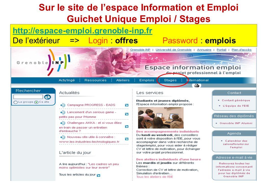 Sur le site de l'espace Information et Emploi