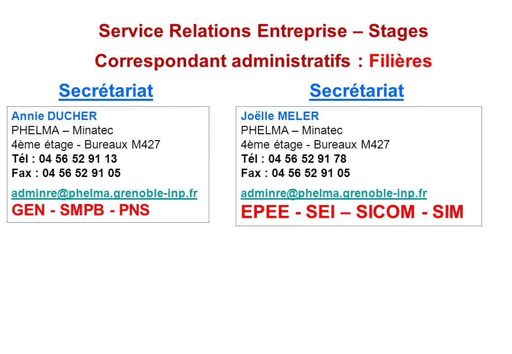 Service Relations Entreprise – Stages