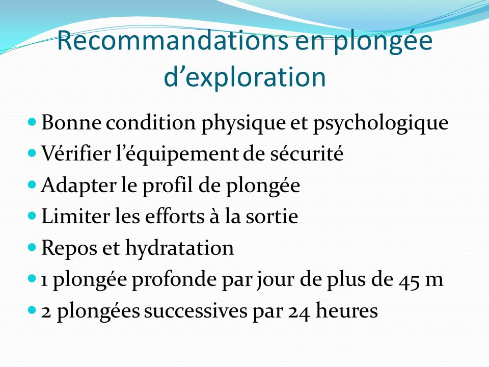 Recommandations en plongée d'exploration