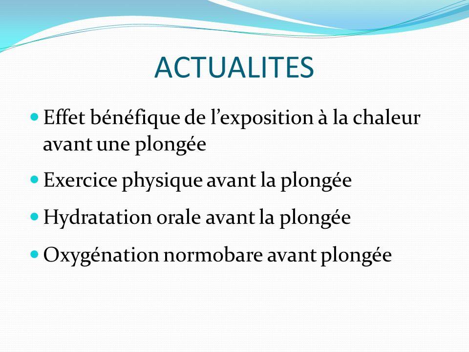 ACTUALITES Effet bénéfique de l'exposition à la chaleur avant une plongée. Exercice physique avant la plongée.