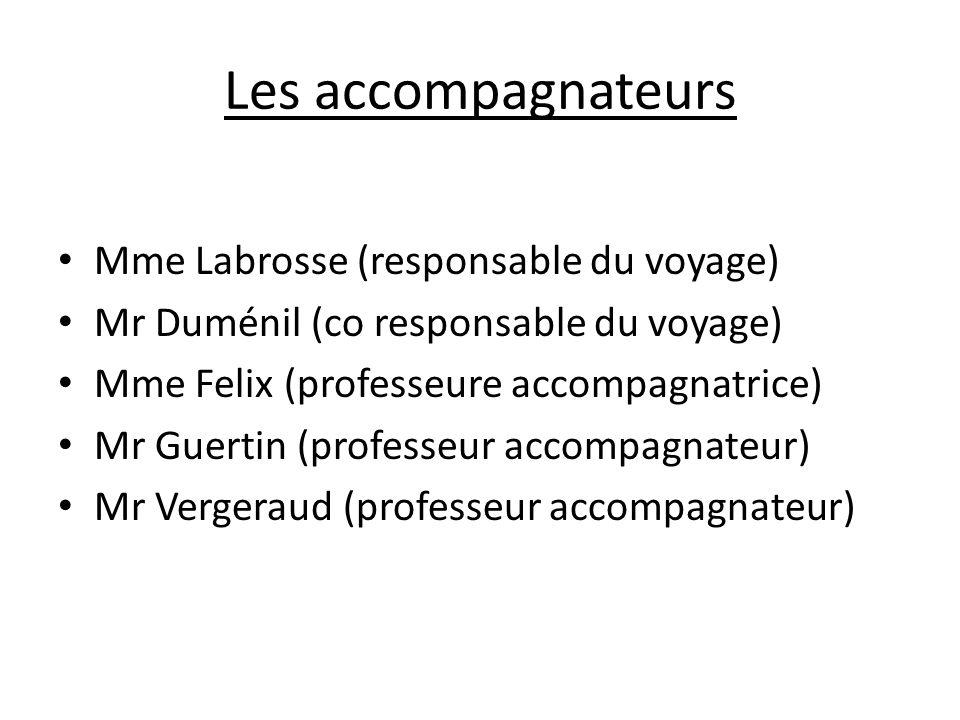 Les accompagnateurs Mme Labrosse (responsable du voyage)