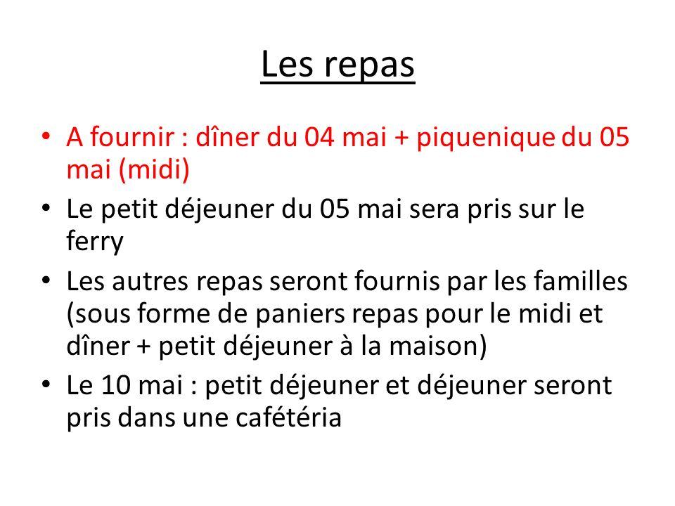 Les repas A fournir : dîner du 04 mai + piquenique du 05 mai (midi)