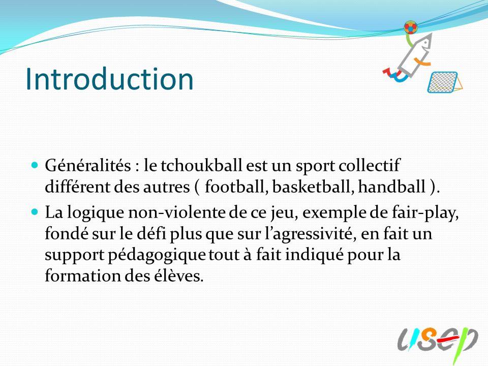 Introduction Généralités : le tchoukball est un sport collectif différent des autres ( football, basketball, handball ).