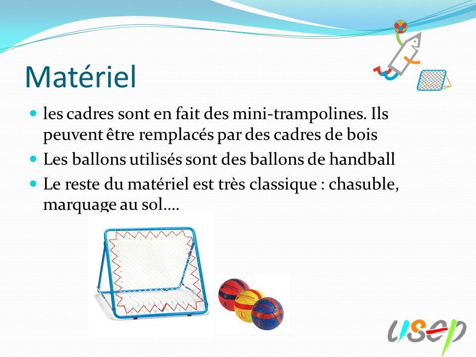 Matériel les cadres sont en fait des mini-trampolines. Ils peuvent être remplacés par des cadres de bois.