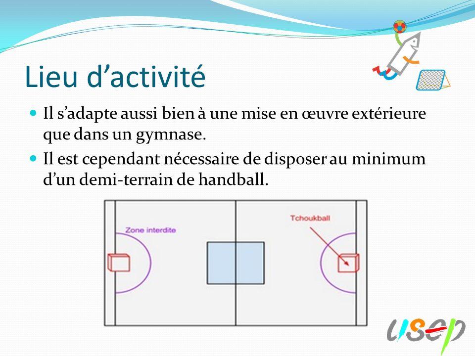 Lieu d'activité Il s'adapte aussi bien à une mise en œuvre extérieure que dans un gymnase.